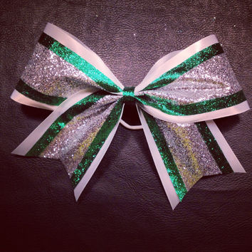 Glitter cheer bow 3 inch white, silver, and kelly green