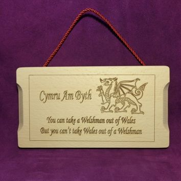 Wooden Sign, Gift Idea, Beech Wooden Sign,Welsh Dragon,Wall Plaque,Hanging Sign.