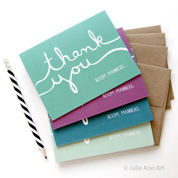 Funny Thank You Card Set of 8 - Boom. Manners.