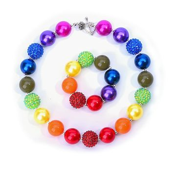 Rainbow  Chunky Bead Necklace Girls Bubblegum Necklace and Bracelet Set Gift for Kids