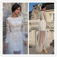 White Floral Lace Long Sleeve Overlay Maxi Dress