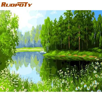 RUOPOTY Frame Green Trees DIY Oil Painting By Numbers Landscape Hand painted Oil Painting Modern Wall Art Picture For Home Decor