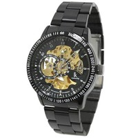 HopCentury Skeleton Automatic Mechanical Self Wind Wrist Watch with Watch Box, Stainless Steel Watch Band