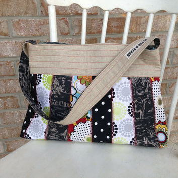Ecofriendly MERRY Black White Patchwork Purse, Quilted Bag, Vegan Purse, Boho Bag -- Upcycled Recycled Repurposed