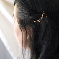 Antler Stag Hair Clips Bobby Pins in Golden Bronze by Woodland Belle