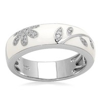 Sterling Silver Diamond White Enamel Floral Design Stack Ring (1/20 cttw, I-J Color, I3 Clarity)