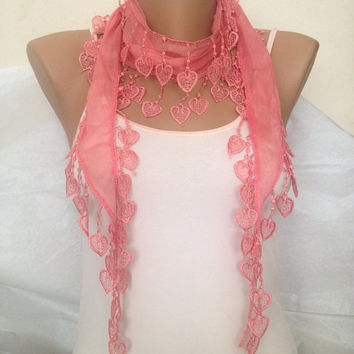 Salmon  Pink Scarf - Light Cotton summer Scarf - Pink Lace Scarf  - Wedding Gift - Coral  Fashion Scarf Accessories -  Heart Lace Scarf