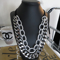 Roxy - Double layer Silver and Gunmetal Chunky Chain Necklace