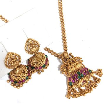Dual stranded ball chain necklace with Goddess Lakshmi Pendant and jhumka earring set - Matte gold finish