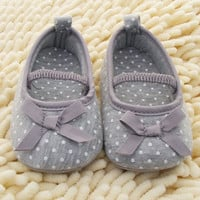 New Baby Shoes Soft Bottom Antiskid Toddler Kids Polka Dot Bowknot Crib Shoes   Free Shipping