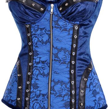 Atomic Blue and Black Studded Steel Boned Corset