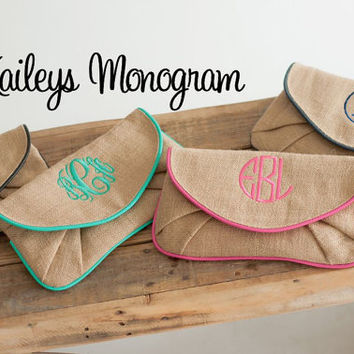 Monogrammed Purse Clutch Burlap Envelope Clutch Personalized Gift Kaileys Monogram Kailesymonogram Preppy