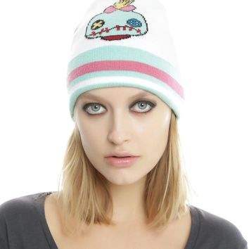 Licensed cool Disney Lilo & Stitch SCRUMP DOLL Varsity Pom Beanie Hat Cap Pink/Green/White NEW