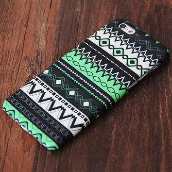 Green Aztec Pattern iPhone 6 Plus 6s 5S 5C 5 4 Protective Case #752