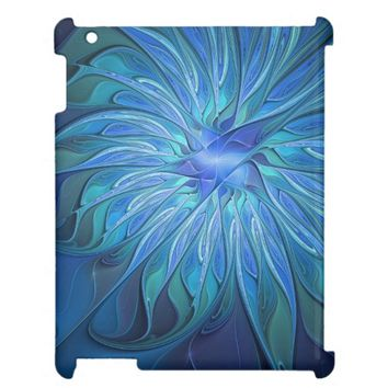 Blue Flower Fantasy Pattern, Abstract Fractal Art Case For The iPad
