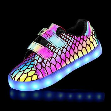 Kid Luminous LED Shoes For Boys Girls Lights Running Shoes Kids 7 Colors USB Charge Ch