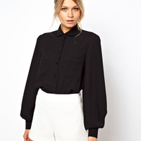 ASOS Shirt With Soft Bib And Pocket Detail