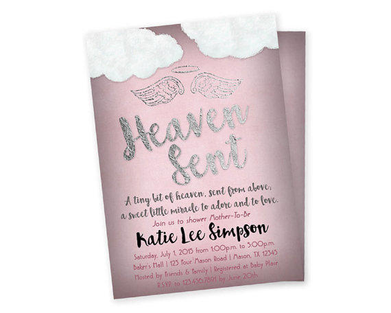 Pink Heaven Sent Baby Shower Invitation From Partyprintexpress
