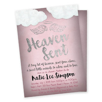 Pink Heaven Sent Baby Shower Invitation - Girl Baby Shower Invitations - Country Piece of Heaven Silver Foil Rose Pink - Vintage Baby