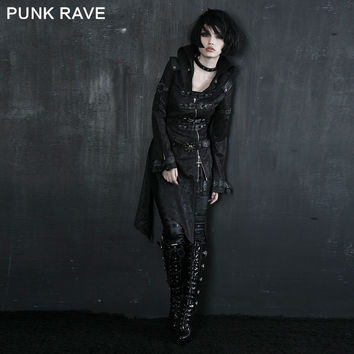 PUNK RAVE Gothic Cross Lealher Hing-size Coat Gothic Black Sexy Ladies Long Leather Corset Turn-down Collar Print Coat
