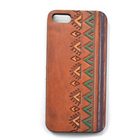 Leather Phone Case, Boho Phone, Indie Fashion Accessories, Stamped Leather Phone Accessories, Tri Color Aztec Case for Iphone 4 (IP43BN006)