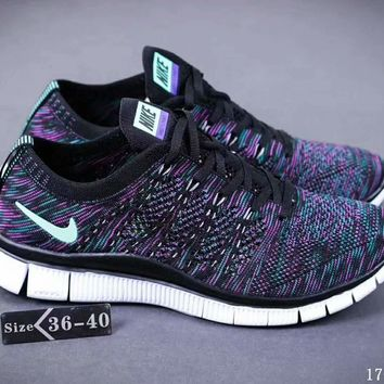 Nike NIKE FREE FLYKNIT NSW barefoot line running shoes high quality perfect new goods F-SSRS-CJZX Dark blue