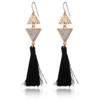 Tassels Stylish Vintage Geometric Turquoise Earrings [8581966407]