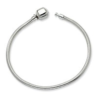 Silver Bracelet with Barrel Clasp (Pandora and Chamilia Compatible) - 8.0 Inches