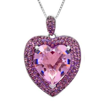 Sterling Silver Crystal  Heart Pendant-Necklace made with Swarovski Crystals