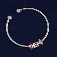 Open Bangle Red Ribbon Bracelet for Autism Awareness
