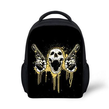 Toddler Backpack class FORUDESIGNS Black Small Boys Skull Backpack Classic Retro Kids Back Bag for School Trend Cool Toddler Baby Bagpack with Flag AT_50_3