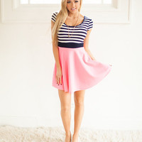 Striped Top Cap Sleeve Skater Dress