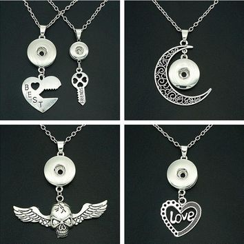 NEW Fashion DJ0118 BEST FRIENDS Moon Love Skull snap Necklace 50cm fit 12MM&18MM charm snap buttons snap jewlery