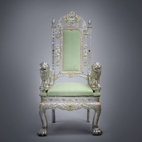 Pair of Anglo-Indian Silver Veneered Throne Chairs