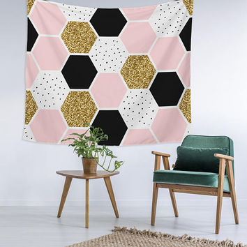 Pattarn Hex Gold Glitter Black Pattern Wall Art College Apartment Unique Dorm Room Decor Trendy Wall Tapestry