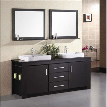 72-inch Double Sink Vanity Set in Espresso with Porcelain Vessel Sinks