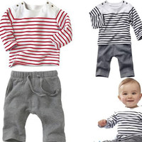 Baby Clothing Sets Cotton T-Shirt + Pant Clothing Set Infant Baby Clothing Suit Children's Color Strips T Shirt Set Free Shipping