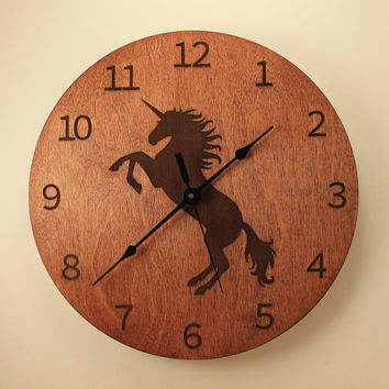 Unicorn laser cut clock Fantasy clock Horse clock Animal clock Wood clock Wall clock Wooden wall clock Mythical creatures Legendary unicorn