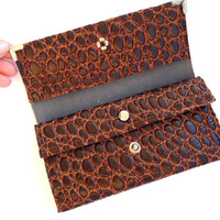 Vintage wallet Soviet 80s leather brown wallet Russian vintage Stunning Leather Bubble Imitation