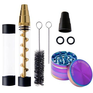 ONETOW Rainbow Glass grinder kit -Tobacco Grinder Herb Grinder Smoking Crusher for Herb Leaves ,Dry Herbs Paper with 4 x O-Rings,2 x Rubber Caps , x Small Cleaning Brush ,1x Big Cleaning Brush(grinder kit)