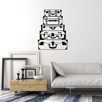 Vinyl Wall Decal Suitcases Wardrobe Travelling Travel Art Room Decoration Stickers Mural (ig6028)