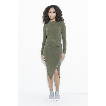 Just Intentional Knit Skirt-Olive Green
