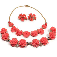 Vintage Jewelry Set Coral Pink Gold Tone Molded Celluloid Rose Flower Bracelet Necklace Clip Earrings Mid Century Mod Jewelry Spring Floral