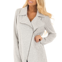 Heather Grey Jacket with Asymmetric Zipper and Front Pockets