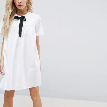 ASOS PETITE Smock Dress with Eyelet Detail and Grosgrain Tie at asos.com