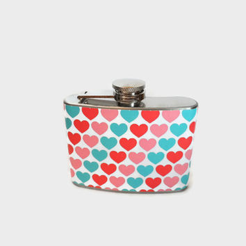 Stainless Steel Hip Flask with pink hearts wrap - 4oz 6oz 2oz 1oz
