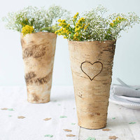 Heart Design Birch Bark Vase