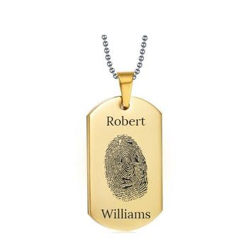 Stainless Steel Fingerprint Dog Tag Gold Style 2