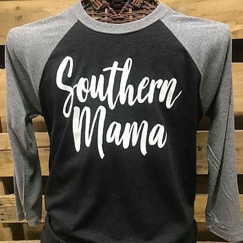 Southern Chics Apparel Southern Mama Raglan Canvas Girlie 3/4 Long Sleeve T Shirt