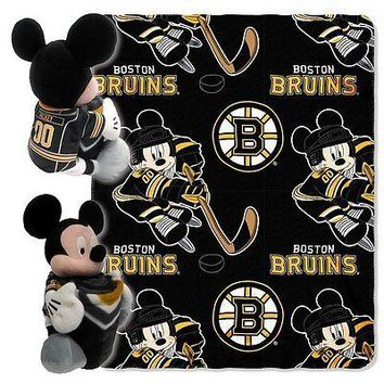 Boston Bruins NHL Mickey Mouse Throw and Hugger Pillow Set